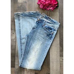 REROCK FOR EXPRESS Distressed Flare Leg Jeans 6
